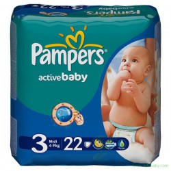Подгузники, Памперс актив беби миди №82 4-9 кг р. 3
